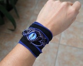 Wrist band Purple Dragon eye wire wrapped bracelet cuff the great eye Tolkien stories Sauron Gift for her the Lord of the Rings armband Goth