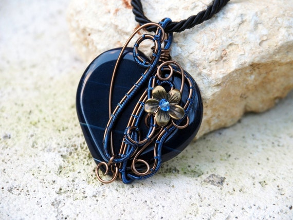 Heart pendant Wire wrapped gemstone necklace love gift for her girlfriend women mother valentine's day gift Dark blue Agate