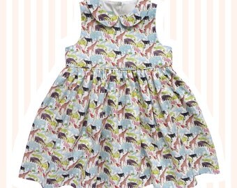 Girls Liberty Print Peter Pan Dress for Baby to 10 years | Queue for the Zoo