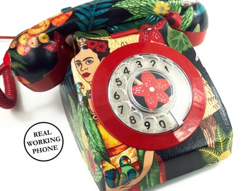 Unique Custom Frida Kahlo Shimmer Upcycled Vintage Rotary Phone FULLY WORKING