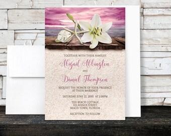 Beach Wedding Invitations - Lily Seashells Sand - Magenta Pink Purple Beige Rustic Wood Dock Tropical Destination Seaside Wedding - Printed