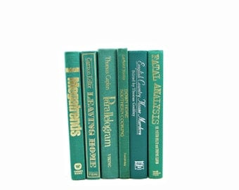Teal Green Books, Antique Decorative Books, Wedding Centerpiece, Book Decor, Old book Set, Book Collection, Aqua Books, Instant Decoration