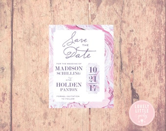 Pink Madison Marble Collection Save The Date Design - DIY Printable or Printed Option - Lovely Little Party