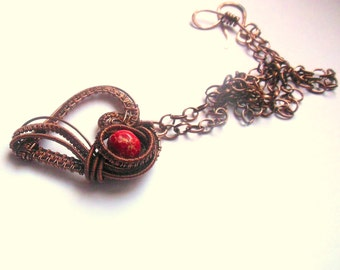 Heart pendant necklace, copper wire wrapped with red sea sediment jasper stone bead. Steampunk. Goth.