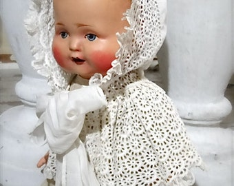 Antique Baby Bonnet Hood Cape Broderie Anglaise Hand Stitched Large Doll or Child Clothing