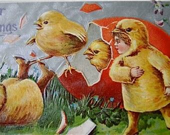 Antique Easter Greetings Postcard Gel - Unused Early Century