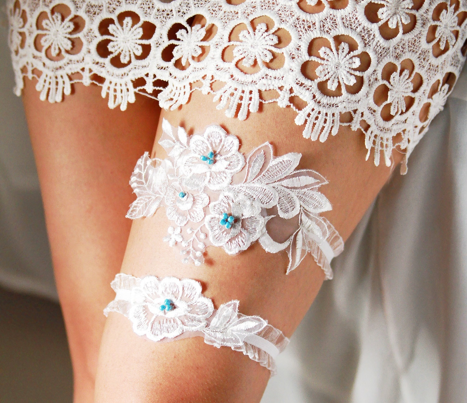 Wedding Leg Garter: Wedding Garter Bridal Garter Lace Garter Something Blue