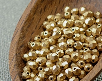 Gold Czech Fire Polished Beads 4mm (50) Opaque Round Glass Small Polish Faceted Frosted Matte Metallic