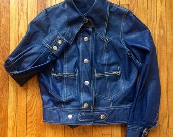 Blue Leather Jacket Womens XS 70s Vintage Western Styling White stitching