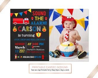 Chalkboard Fire Truck Invitation, Fire Truck Birthday Invitation, Firetruck Invite, Fire Engine Invitation, Firefighter Party