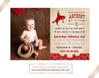 Cowboy Birthday Invitation, Vintage Cowboy Birthday, Cowboy Invitation, Cowboy Party, DIY Custom Printable