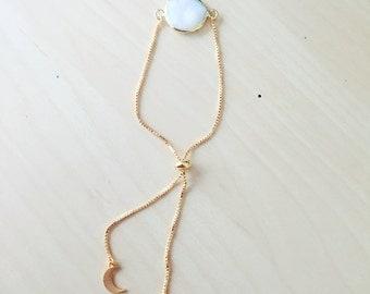 24k Gold Fresh Water Pearl Luna Bracelet