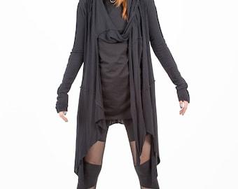 Women Cardigan, Wrap Vest, Hood, Gothic Cardigan, Avangarde , Futuristic Clothing