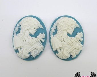 2 pc VICTORIAN ZOMBIE with DOVE Lolita Skeleton Teal Blue Resin Cameos 30x40mm cabochons, skeleton cameos, halloween cabochons