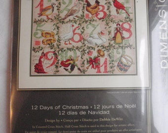 """Dimensions The Gold Collection """"12 Days of Christmas"""" Counted Cross Stitch Kit"""