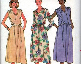 """1980s Women's V-neckline Dress and Vest Pattern- Size 12, Bust 34"""" - Butterick 6376"""
