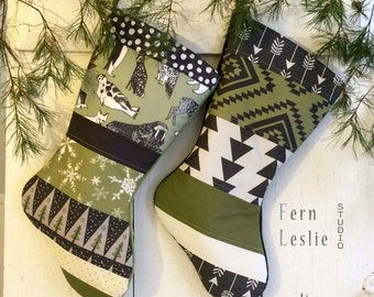 Green Christmas Stocking Set of 2 - Aztec, Arctic - Personalized, Quilted Stocking, Holiday Decor, White, Black, Modern, Penguin, Deer, Seal