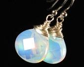 Opalite Earrings, Sterling Silver earrings, Wire Wrap Dangle Earrings with milky iridescent stones, fine earrings, gift for her, gift, 3844