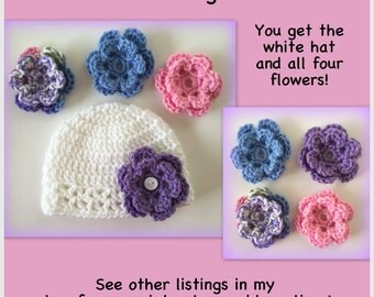 READY TO SHIP Baby hat with interchangeable flowers, flower hat, 0-3 months, newborn, 3-6 months, change flower, crocheted baby hat