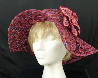 Crochet beach hat Boho summer floppy hats Victorian tee party lace hat Woman derby hats Wide brim cotton sun hat Bohemian pink crochet hat