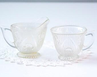 Creamer and Sugar Bowl, Iris and Herringbone, Clear Jeannette Iris Pattern