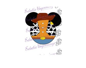 Disney Digital File, DIY Print Iron On-Disney Toy Story Woody Cowboy Mickey Ears JPG File