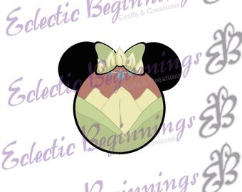 Disney Digital File, DIY Print Iron On-Disney Princess Tiana Minnie Mouse Ears JPG File