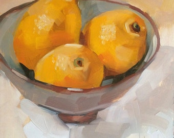 Bowl of Lemons, Original Oil Painting, 6 x 6 inches, free domestic shipping