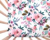 Crib Sheet Victoria Floral. Fitted Crib Sheet. Baby Bedding. Crib Bedding. Minky Crib Sheet. Crib Sheets. Floral Crib Sheet.