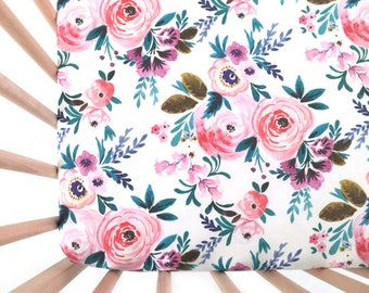 Crib Sheet Victoria Floral. Fitted Crib Sheet. Baby Bedding. Crib Bedding. Minky Crib Sheet. Crib Sheets. Floral Crib Sheet.