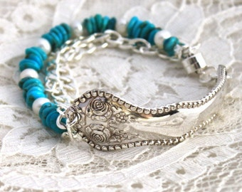 Antique Spoon Bracelet w/TURQUOISE & PEARLS Silverware Jewelry - Sterling Magnetic Clasp - York Rose/Rose 1910 - 7.5 - 7.75 inch Wrist