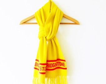 Bright Yellow Vintage Novelty Scarf / Cozy Yellow Retro Scarf / Bridgestone / 70s Promotional Winter Scarf