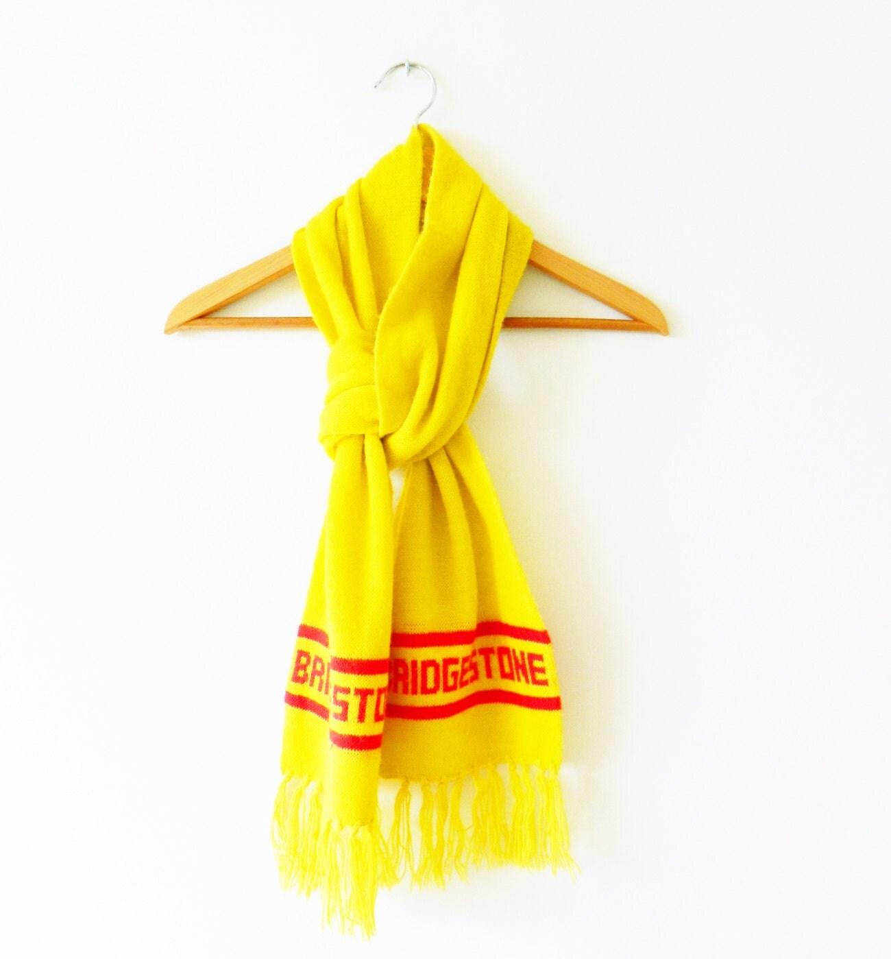bright yellow vintage novelty scarf cozy yellow retro scarf