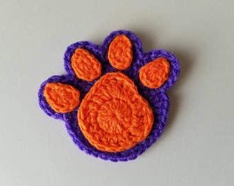"NEW- 1pc 3"" Small Crochet PAW PRINT Applique"
