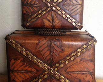 Vintage Pair of Nested Rattan Suitcases