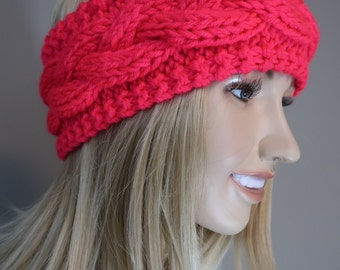 Cable Knit Headband Head Wrap Earwarmer Winter Neon Vivid Sunset
