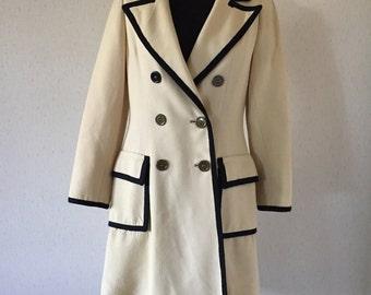 Vintage 60s Wool Cream & Black Coat