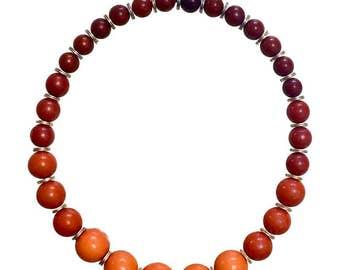 Vintage Yves Saint Laurent orange brown gradation color ball statement necklace. YSL ball chain necklace. Mod