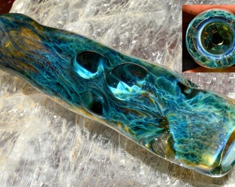 Exquisite Glass Ice Pinch Chillum Pipe with Irrid over Green Amber Purple Honeycomb Roots - Handblown - Color Changer
