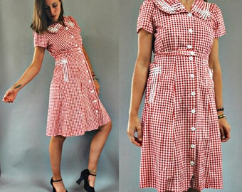 1940s Red Gingham Plaid Sailor Style Picnic Dress