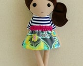 Reserved for Akosua - Fabric Doll Rag Doll Brown Haired Girl in Navy and White Top, Floral Skirt, Tutu, and Leg Warmers