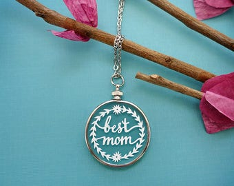 Papercut Necklace - Best Mom - Mother's Day Jewelry - Original Handcut Paper in Glass Pendants with Silver Chain