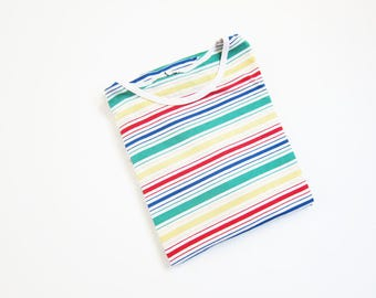 Rainbow Stripe Shirt / 90s Shirt / Vintage Stripe T Shirt / Grunge  / Primary Colors / Small Medium