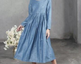 Cerulean Blue Linen Dress, Empired Waist Dress, Flax Dress, Maxi Dress, Longsleeved Linen Dress, Loose Fitting Dress, Retro High Waist Dress