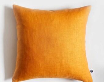 Yellow pillow, Yellow throw pillows, Yellow linen pillowcase, yellow euro shams, Accent pillows, Decorative yellow pillows, Sofa pillow 0280