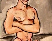 Explicit Nude Male Portrait Muscle Erotic Art Original Painting on Flat Panel ADULT CONTENT