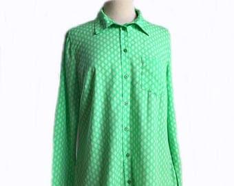 Vintage 90s mint green shirt/ white diamond dots/ button down office shirt/ Merona