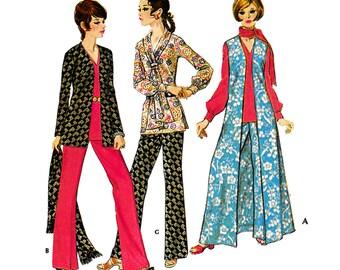 "1970 Easy Duster Wardrobe: Floor Length Vest, Jacket, Long Sleeve Blouse, Pencil Skirt & Pants, Scarf, McCall's 2477, Bust 37"""
