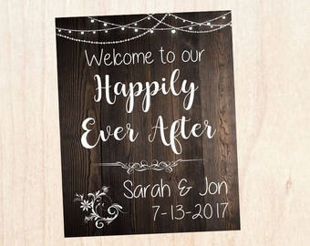 Happily Ever After sign. Rustic Wedding welcome sign. fairy tale wedding sign. PRINTABLE welcome to our happily ever after. poster