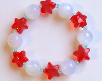 Translucent Bead and Glitter Star Stretch Bracelet with Iridescent Bubbles